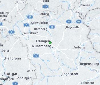 Lage des Taxitarifgebietes Erlangen