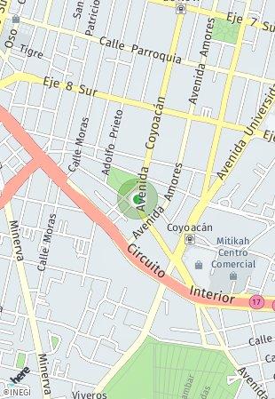 Peta lokasi Coyoacán 1833
