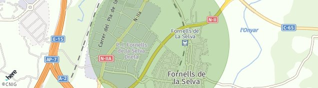 Mapa Fornells de la Selva
