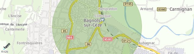 Carte de Bagnols-sur-Cèze