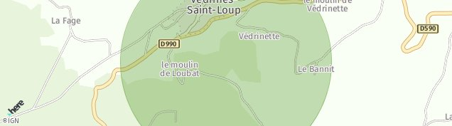 Carte de Védrines-Saint-Loup