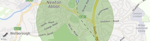 Map of Newton Abbot