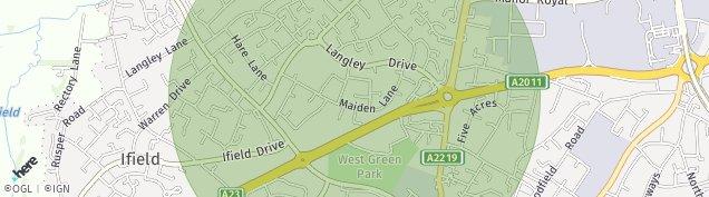 Map of Crawley