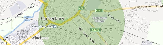 Map of Canterbury