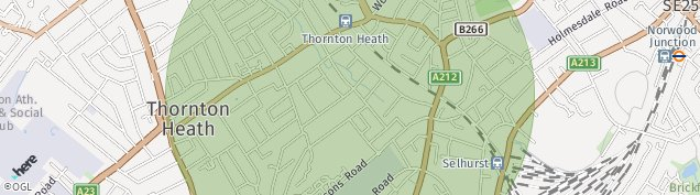 Map of Thornton Heath