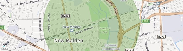 Map of New Malden