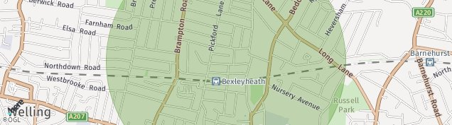 Map of Bexleyheath