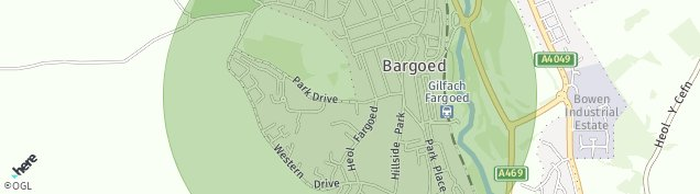 Map of Bargoed