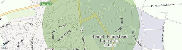 Map of Hemel Hempstead Industrial Estate