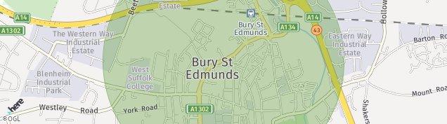 Map of Bury St. Edmunds
