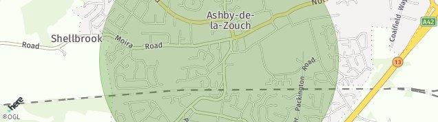 Map of Ashby-De-La-Zouch