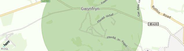 Map of Bwlchgwyn