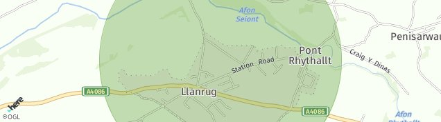Map of Llanrug