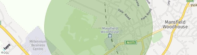 Map of Mansfield Woodhouse