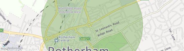 Map of Rotherham