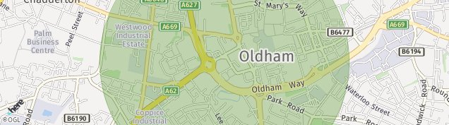 Map of Oldham