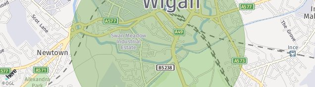 Map of Wigan