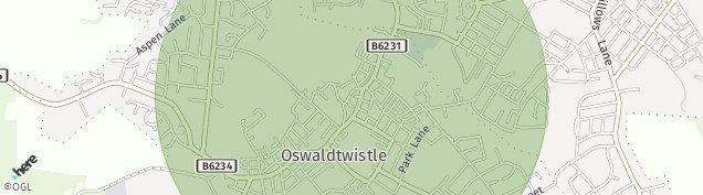 Map of Oswaldtwistle