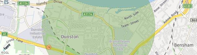 Map of Gateshead