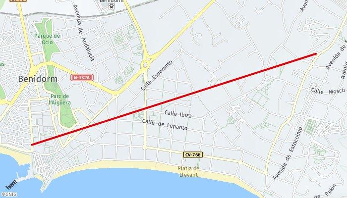 Rincon De Loix Mapa.Ruta Desde Rincon De Loix Benidorm Hasta Calle Del Mercado
